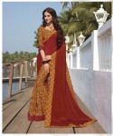 Maroon | Half n Half Printed Crepe Silk Daily Wear Saree