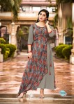 Gray Color Fashion Blossom weight less Georgette Kurtis -  L Size 3006