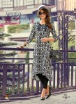 Black | White Color Stylish Beautiful Designer Printed Cotton Kurtis - 05
