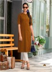 Rust Color Designer Cotton Embroidered Kurtis 06