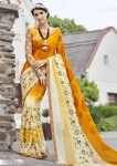 Yellow Faux Georgette Geometrical Printed Saree 2811