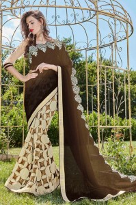 BROWN AND CREAM GEORGETTE FABRIC SAREE WITH EMBROIDERY WORK 8109