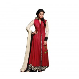 Semi Stitched Spun Cotton Salwar Suit Material | Red