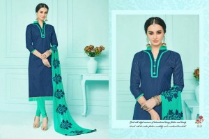 Cotton Salwar & Embroidery Chiffon Dupatta | Blue