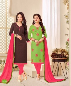 2 IN 1 Chanderi and Cotton Jacquard salwar suit dress material 77008