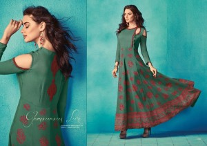 Stylish Designer Long Cotton Kurta Green Colour