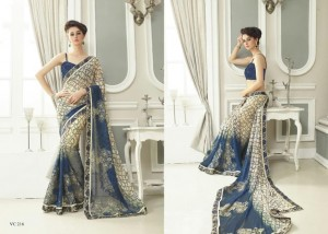 Print & Embroidery Georgette Saree | Sandal Blue Colour