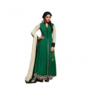 Semi Stitched Spun Cotton Salwar Suit Material | Green