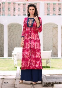 Print Embroidery Cotton Casual Long Kurta | Rani Pink