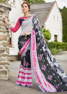 Off White Faux Georgette Floral Printed Saree 2808