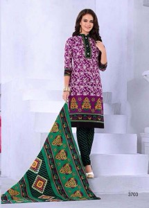 Printed Cotton Salwar, Dupatta & Bottom - Pink Colour
