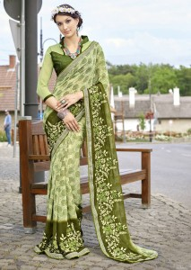 Green Faux Georgette Traditional Printed Saree 2807