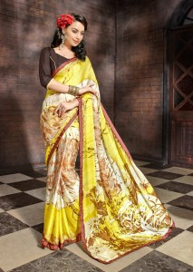Printed Satin Chiffon Casual Saree | Yellow Grey Colour