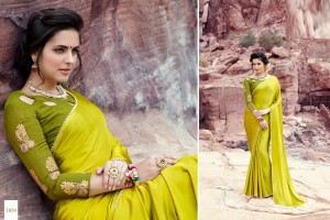 LIME GREEN SATIN SILK SAREE WITH EMBROIDED BLOUSE 1059