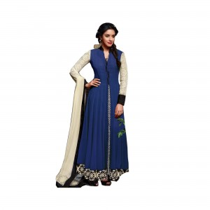 Semi Stitched Spun Cotton Salwar Suit | Blue Colour