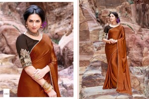 BROWN COLOR SATIN SILK SAREE WITH EMBROIDED BLOUSE 1062