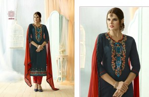 Blue Colour Cotton Embroidery Salwar & Nazneen Dupatta