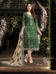 Printed Cotton Silk Salwar Material & Dupatta - Green