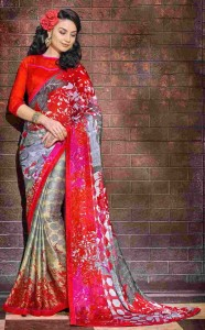 Printed Satin Chiffon Casual Saree | Red Grey Colour