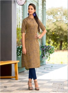 Brown Color Designer Cotton Embroidered Kurtis - 02
