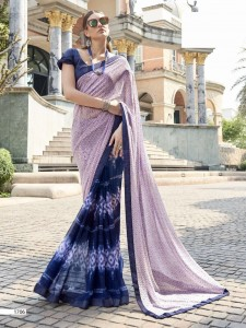 Half n Half Faux Georgette & Art Silk border Saree