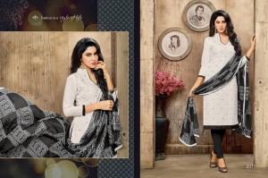 Cotton Embroidery Ablaa Work Top, Cotton Bottom and Chiffon Dupatta 2011