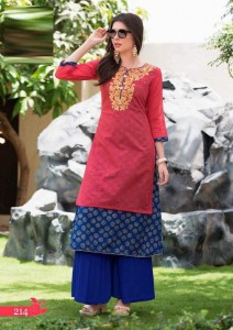 Rayon Cotton & Kora Silk Gold Print Kurta | Pink Blue