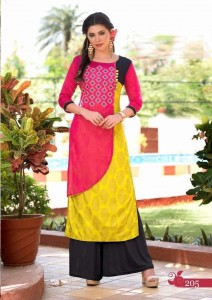 Rayon Cotton & Kora Silk Gold Print Kurta | Pink Yellow
