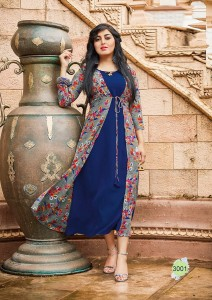 Blue Color Fashion Blossom weight less Georgette Kurtis -  L Size 3001