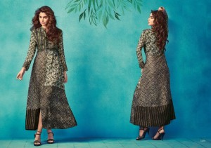 Casual Designer Long Cotton Kurta Gray Colour