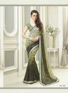 Print Embroidery Georgette Saree | Olive Green Colour