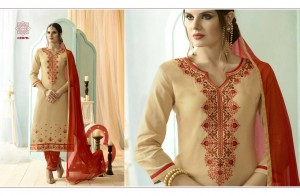Cream Colour Cotton Embroidery Salwar Nazneen Dupatta