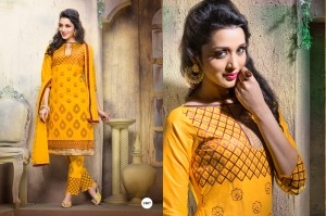 Cotton Embroidery Salwar Printed Dupatta Yellow Colour