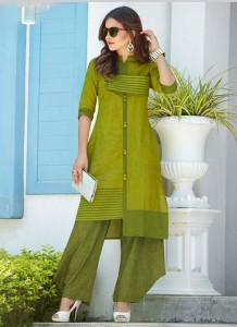 Handloom Cotton Embroidery Long Kurta | Green Colour