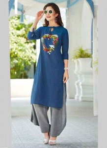 Handloom Cotton Embroidery Long Kurta | Blue Colour