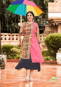 Weightless Georgette Casual Kurta Multi Colour L-Szie