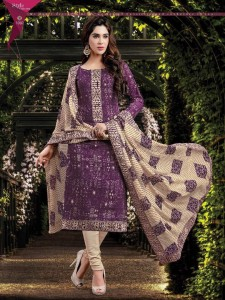 Printed Cotton Silk Salwar Material & Dupatta - Purple
