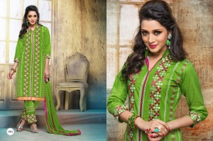Cotton Embroidery Salwar Printed Dupatta Green Colour