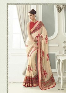 Print & Embroidery Georgette Saree | Red Cream Colour