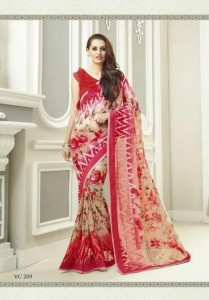 Print Embroidery Georgette Saree | Red Sandal Colour