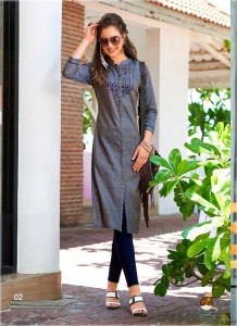 Ash Grey Color Designer Cotton Embroidered Kurtis 02
