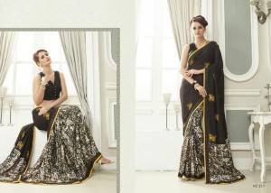 Half n Half Print & Embroidery Georgette Saree | Black