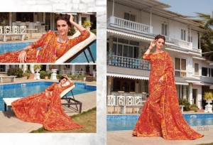 Tussar Silk Floral Printed Casual Saree Orange Colour