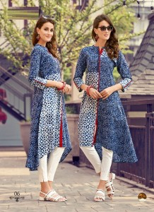 Blue | White Color Stylish Beautiful Designer Printed Cotton Kurtis - 06