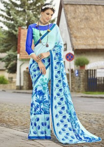 Traditional Georgette Embroidery Print Saree | Skyblue