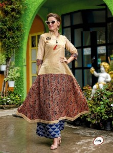 Cotton Rayon Long Casual Designer Kurta | Sandal Multi