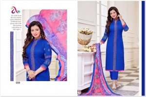 Print & Embroidery Cotton Top Chiffon Dupatta - Blue