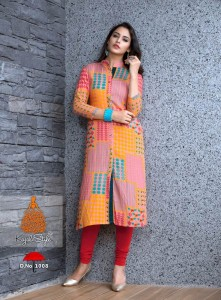 Pink & Yellow Colour Checked Rayon Printed Long Kurta