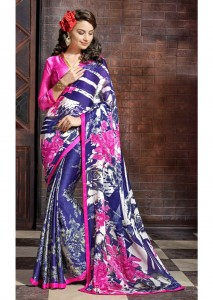 Printed Satin Chiffon Casual Saree | Blue Pink Colour