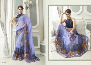 Print & Embroidery Georgette and Art Silk Border Saree